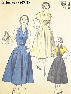 Vintage 1940s Halter Dress Pattern - Advance 6397 - Misses' Halter Dress and Bolero - SZ 14/Bust 32