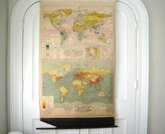 Vintage Pull Down World Map - 1930's Rainfall, Temps & Population - Denoyer-Geppert Co.. $125.00, via Etsy.