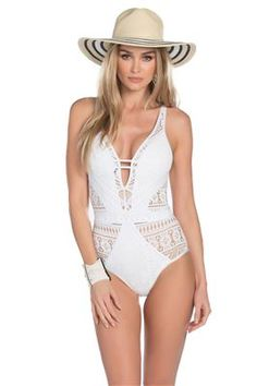 7e2cb8350594 One piece monokini with high neck and cut outs at sides, clips at neck and