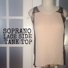 30% OFF BDLS  Soprano lace side tank top Soprano lace side tank top. Main color is taupe (brown, tanish, pinkish) lace is black and sheer on side, some of back and a little bit of shoulders (shown in picture) XS but can fit a small as well. Soprano Tops Tank Tops