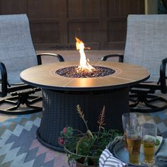 Red Ember Meridian 43 in. Round Propane Fire Pit - The Red Ember Meridian 43 in. Round Propane Fire Pit is a great centerpiece for entertaining at your outdoor space. Its handsome granite mantel top...