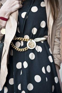 leather jacket, haute hippie // polka dot dress, vintage via grey dog // chain belt, family heirloom // coin bracelet, vintage via cheap thrills // tights, hue // photo credit: jadefOX pictures - tulip.louise: circle circle.