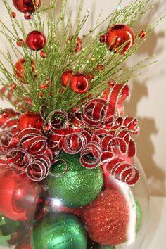 christmas centerpiece black red and silverglitterglassandsass