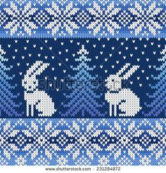 with penguins instead of the rabbits?seamless knitted pattern with snowflakes and rabbits Fair Isle Knitting Patterns, Knitting Charts, Knitting Designs, Knitting Stitches, Free Knitting, Knitting Projects, Fair Isle Pattern, Crochet Chart, Crochet Patterns