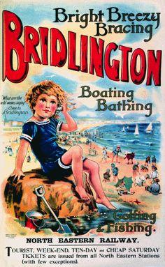 Mixed Media - Bridlington, England - Retro Travel Advertising Poster - Vintage Poster - Little Boy On The Beach by Studio Grafiikka , Vintage Advertising Posters, Vintage Travel Posters, Vintage Advertisements, Poster Vintage, Vintage Ads, Advertising Signs, Vintage Artwork, Vintage Labels, Vintage Stuff