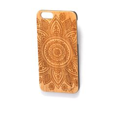 Wood Laser Engraved Case 1012 Mandala Iphone & Galaxy by CaseYard