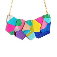 BRIKA.com | Neon Polygon Bib Necklace | A Well-Crafted Life love it<3
