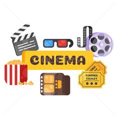 Vector flat style set of old cinema icon for online movies. stock photo (c) curiosity (#8246504) | Stockfresh