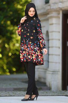 Hewes Line - Çiçek Desenli Siyah Tesettür Tunik 3086S
