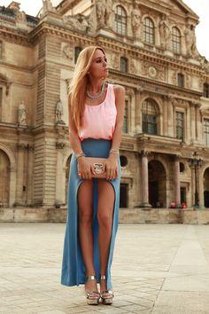 Bubble gum top + blue skirt + silver heels via www.chictopia.com