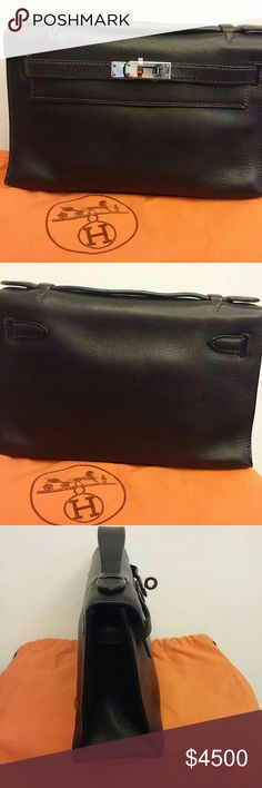 Authentic Hermes Kelly Dark Brown Mini Pochette Authentic Hermes Kelly Dark Brown Mini Pochette Clutch Bagmade in FranceMeasurements : L21.5 x W 6.5 x H 12.5 cm approx. 100% Guaranteed Authentic, with original dust bag and box Condition: used, in good condition. Bags Totes