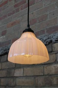 Milky Glass Hanging Light has panelled ribs - Early 1900 s style lighting