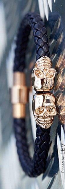 Northskull ♥✤The Sleek & Stylish Navy Nappa Leather 18kt. Rose Gold Twin Skull Bracelet