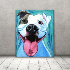 STRETCHED canvas print of a Dog Dog portrait by DannysStuff15 #dogpainting #dogart #pitbull
