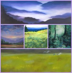 """Elise Okrend paints soft, serene landscapes that calm and lead to a feeling of well-being. She is one of 8 women artists in the photo article """"Art with a Healing Touch"""" on www.ArtsyShark.com"""