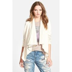BLANKNYC 'Private Practice' Drape Front Mixed Media Jacket