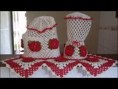 Jogo de cozinha capa para microondas com aplicação de flores - YouTube