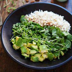 Green Goddess Detox Salad - avocado, almonds, spinach, pea shoots, and healthy homemade Green Goddess dressing. Healthy + yummy.