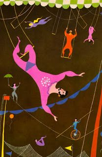 trapeze circus illustration by aurelius battaglia