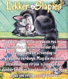 Goeie Nag, Evening Greetings, Goeie More, Afrikaans Quotes, Good Night Sweet Dreams, Interesting Topics, Good Night Quotes, Good Morning, Messages