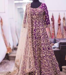 Buy purple art silk embroidered semi stitiched salwar with dupatta party-wear-salwar-kameez online