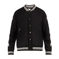 Off-White Logo-print wool-blend bomber jacket ($1,191) ❤ liked on Polyvore featuring men's fashion, men's clothing, men's outerwear, men's jackets, jackets, black and mens urban jackets