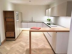 Modern Kitchens, White Kitchens, Handleless Kitchen, German Kitchen, Exeter, Kitchen Flooring, Corner Desk, Sweet Home, Home And Garden