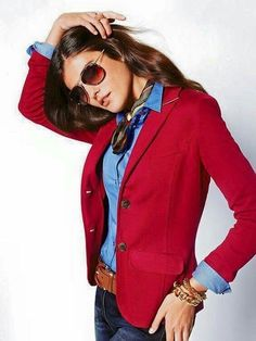 Colored blazer paired with neck scarf & denim button-down
