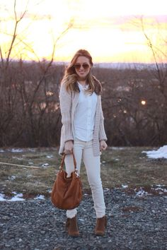 White button-up shirt, tan ankle boots, cream skinny jeans, beige cardigan