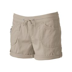 Juniors' Unionbay Christy Roll-Tab Midi Shorts, Teens, Size: 13, Beig/Green (Beig/Khaki)