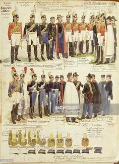 Foto stock : Uniforms of Papal Noble Guards, color plate by Quinto Cenni, 1880