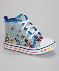 Blue Flower Zipper Hi-Top Sneaker on shopstyle.com