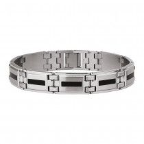 Men's STEL Stainless Steel Bracelet with Black Enamel Inlay Accent
