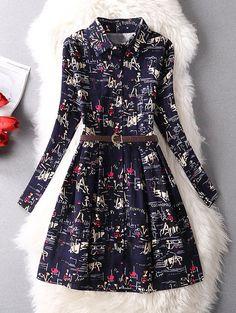 Abstract Print Long Sleeve A-Line Dress