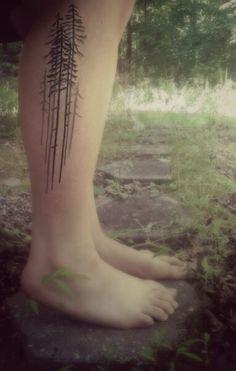 pine tree tattoo. simple