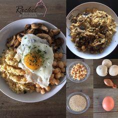 Assiette complète 1 : Quinoa, pois chiches, champignons et oeufs