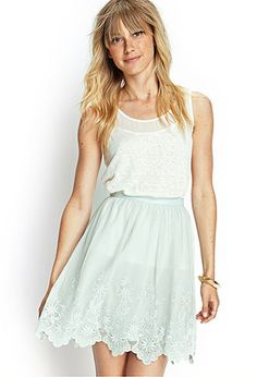 """Love 21 - A layered mesh skirt featuring a scalloped embroidery border and concealed side zipper.      Fully lined     Woven     100% nylon     20"""" full length, 28"""" waist     Measured from Small     Hand wash cold     Imported"""