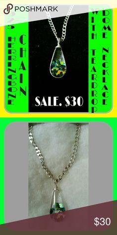 Selling this 925 chain with Dichroic  Teardtop Glass. SALE $24 on Poshmark! My username is: yasukawa65. #shopmycloset #poshmark #fashion #shopping #style #forsale #Jewelry