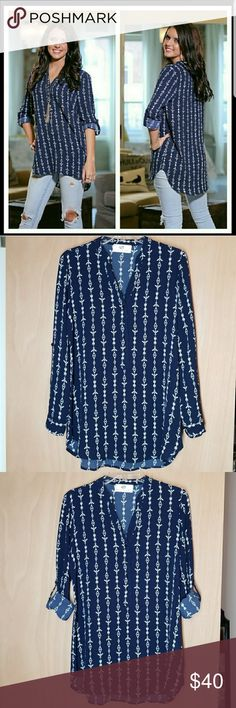 "?New Aztec Print Tunic Infinity Rain-Aztec print ,Navy Blue 100% polyester  Bust= (small 18"", medium 29/32"", large 30/33) Length = ( small 28/31, medium 29/32, large 30/33) Pullover with 3/4 buttons.  Light top perfect for this sprint into summer!! Infinity Raine Tops Tunics"