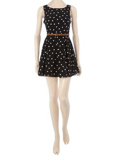 Dorothy Parker black polka dot belted dress