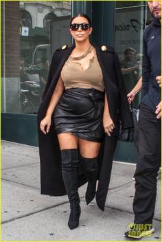 Kim Kardashian Wears Thigh High Boots for Sexy Pregnancy Look