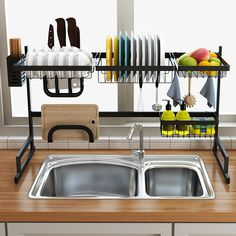 Stainless Steel Kitchen Dish Rack Organizer Increase your kitchen storage space for best over the sink dish rack Keep your kitchen counter organized and drying Tidy Kitchen, Modern Kitchen Cabinets, Kitchen Dishes, Kitchen Helper, Kitchen Ideas, Kitchen Decor, Kitchen Modern, Kitchen Tips, Kitchen Furniture