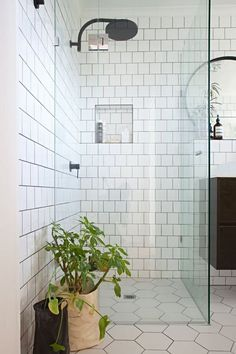 All white subway shower with seamless shower door and hex.tile