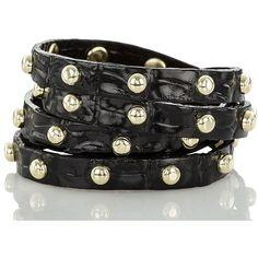 Brahmin Stud Wrap Bracelet Onyx La Scala ($78) ❤ liked on Polyvore featuring jewelry, bracelets, adjustable bracelet, gold tone bracelet, wrap around bracelet, wrap bracelet and handcrafted jewelry