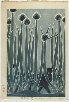 "magpiemouse:  KASAMATSU ""Flower of Leek"" aka ""Cat and Leeks""1958"