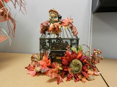 Fall birdcage created by Grandma's Gown for charity auction.