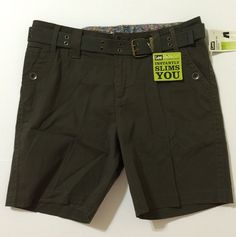 Lee Women's Dark Green Natural Fit Stretch Shorts With Belt Size 16 NWT #Lee #CasualShorts