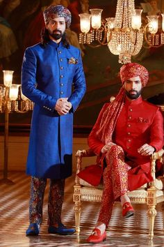 Buy Samyakk Blue And Red Printed Achkan Sherwani online in India at best price. Indian Groom Wear, Indian Wedding Outfits, Indian Wear, Indian Outfits, Male Outfits, Wedding Outfits For Groom, Wedding Poses, Mens Ethnic Wear, Wedding Sherwani