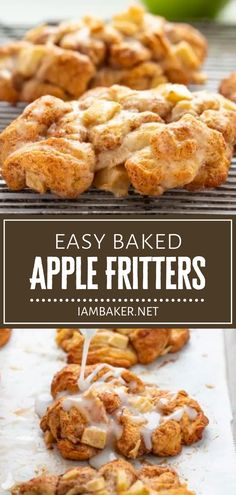 Baked Apple Fritters are a quick and easy fall menu idea! With just a few simple ingredients, you can have a crisp and flavorful treat without the mess of deep-frying or oil. Drizzle them with a homemade glaze for a delicious breakfast! Pin this fall recipe for later! Apple Fritter Recipes, Apple Recipes, Fall Recipes, Beef Recipes, Snack Recipes, Dessert Recipes, Cooking Recipes, Curry Recipes, Recipies