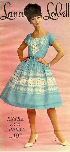 Lana Lobell Blue and White Dress 1963